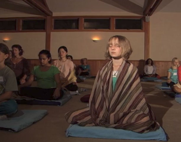 children doing anapana meditation
