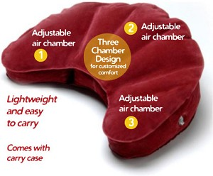 Mobile Meditator Crescent Moon Inflatable Cushion. In multiple colors.